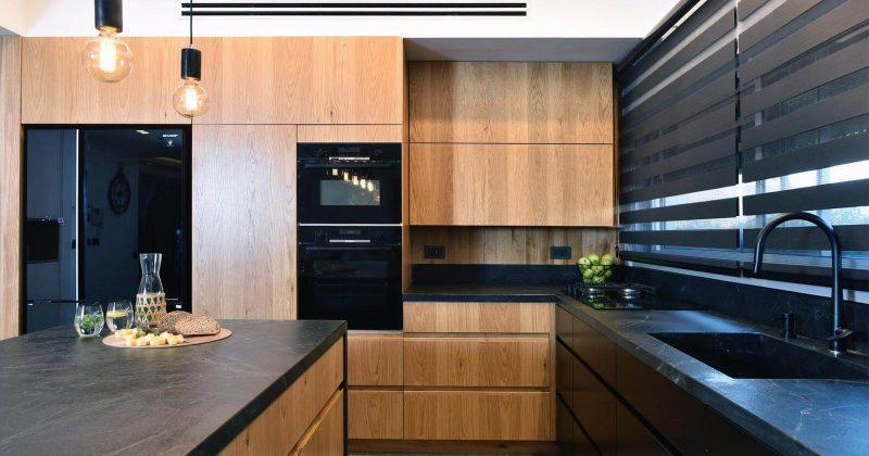 משטח עבודה למטבח ואי מגרניט שחורה